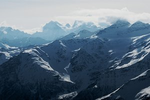 mountains of elbrus in the snow