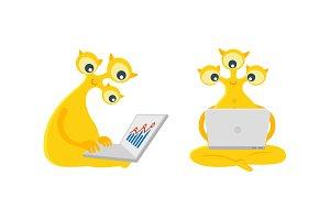 Three-eyes allen with laptop