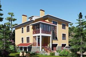 3D visualization. Cozy house.