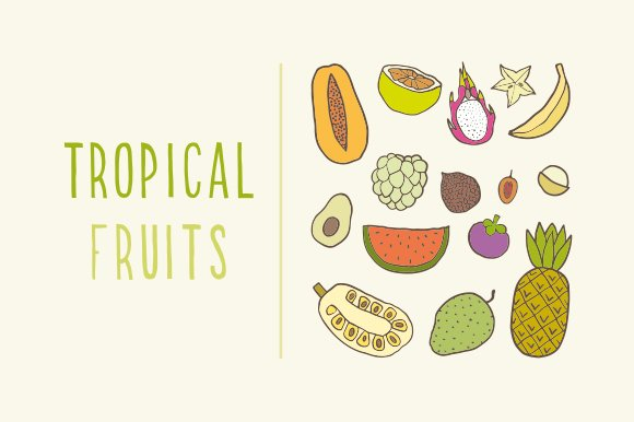Tropical fruits in Objects