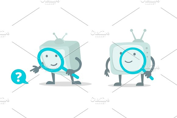 Video Search Cinema Tv Robot Character With Magnifier Loupe Set With Magnifying Glass Search Flat Color Vector Illustration Stock Clipart