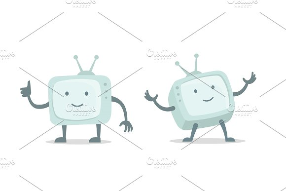 Video Bloger Video Channel Cinema Tv With Arms And Legs Character Set Flat Color Vector Illustration