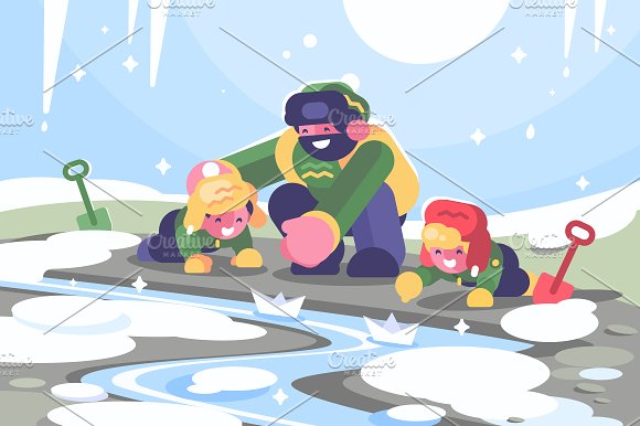 Father With Children Launches Boats