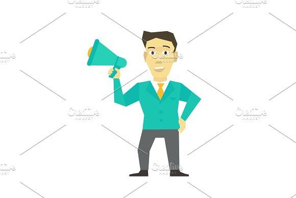 Speaker Man With Horn Megaphone Loudspeaker Person Speakerphone Manager Leader Message Business Man Politician Flat Color Vector Illustration