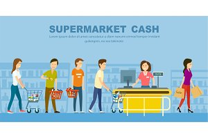 Supermarket store counter desk banner