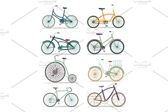Bicycle Set In Flat Design