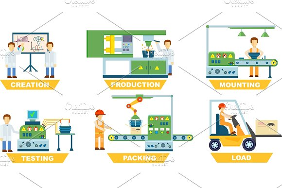 Industrial Manufacture Isolated Vector Set