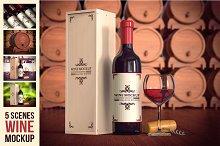 5 Scene Wine Mockup Pack