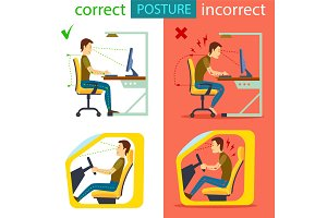 Correct and incorrect sitting posture