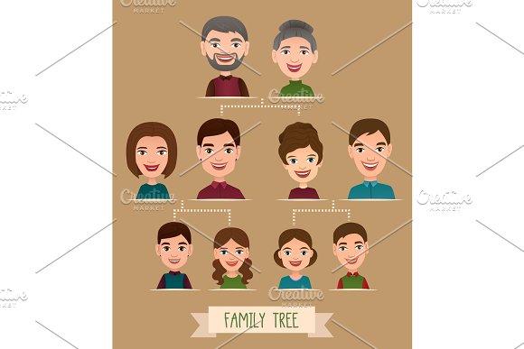 Big Family Tree Cartoon Concept With Avatar Icons