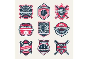 Baseball championship vintage isolated label set