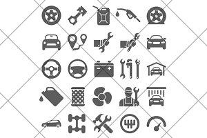 Car service maintenance icon set