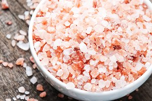 Crystals of pink salt