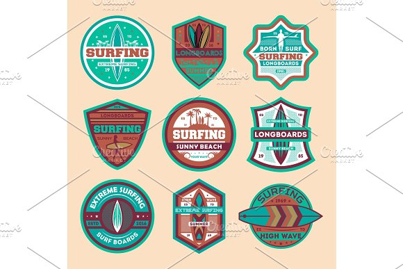 Extreme Surfing Camp Vintage Isolated Label Set