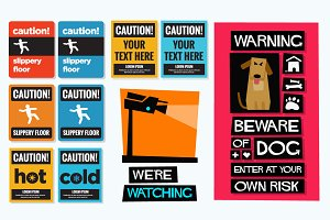 Set Of Caution Sticker Graphics ⚠