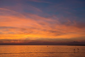 View of beautiful sunset above the Adriatic sea