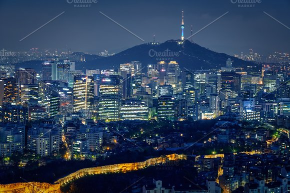 Seoul Skyline In The Night South Korea
