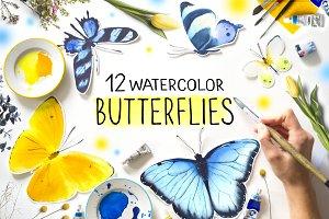 Butterflies Watercolor clipart