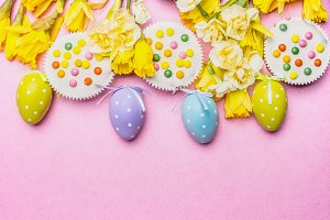 Easter eggs, cake and flowers