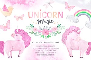 Watercolor Unicorn Design Set