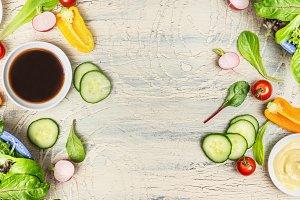 Variety of healthy salad dressings