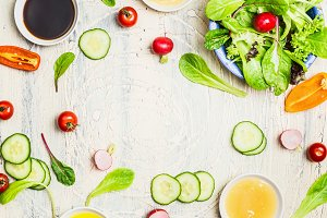 Tasty summer salad and dressings
