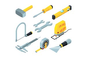 Electronic tools for construction. Isometric pictures set