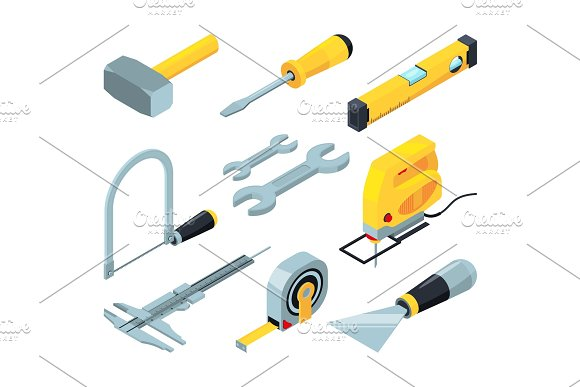 Electronic Tools For Construction Isometric Pictures Set