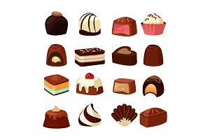Chocolate sweets with different fillings. Vector illustrations in cartoon style