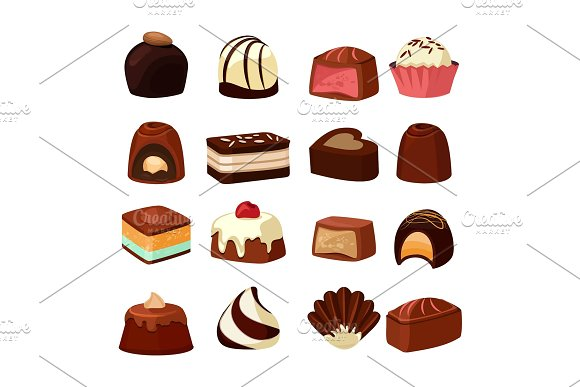 Chocolate Sweets With Different Fillings Vector Illustrations In Cartoon Style