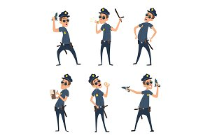 Policemen in different action poses. Security mens in cartoon style