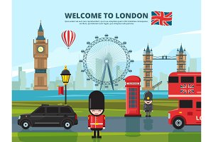 Background vector illustration with london urban landscape. England and uk landmarks