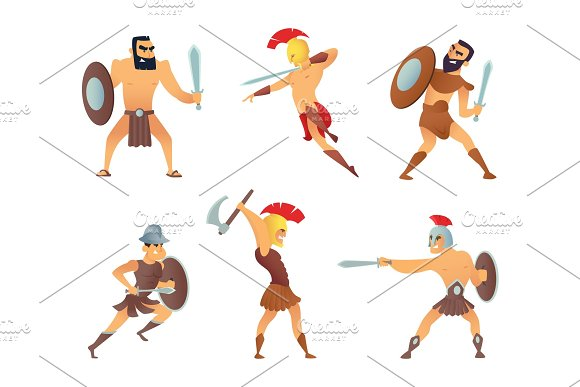 Gladiators Holding Swords Fighting Characters In Action Poses