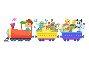 Childrens toys in train. Vector cartoon illustrations isolate on white