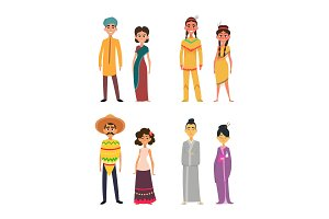 International group of peoples male and female. Characters of different nationalities