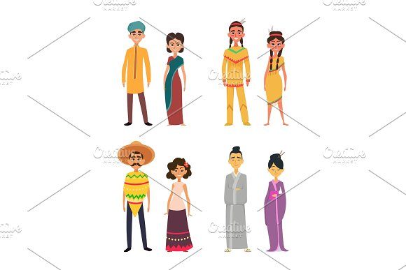 International Group Of Peoples Male And Female Characters Of Different Nationalities