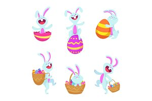 Set characters of easter rabbits