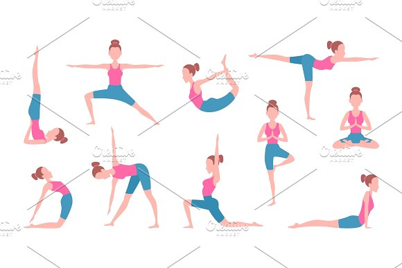 Health Concept Pictures Of Female Making Yoga Fitness Exercises
