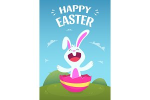 Poster template with illustration of easter rabbit
