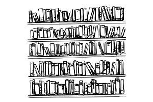 Bookshelves sketch. Hand drawn interior elements. Doodles