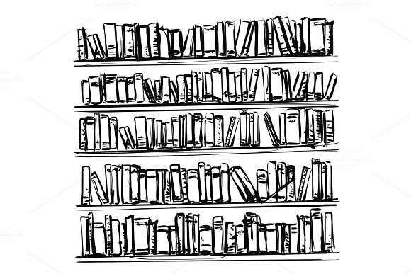 Bookshelves Sketch Hand Drawn Interior Elements Doodles