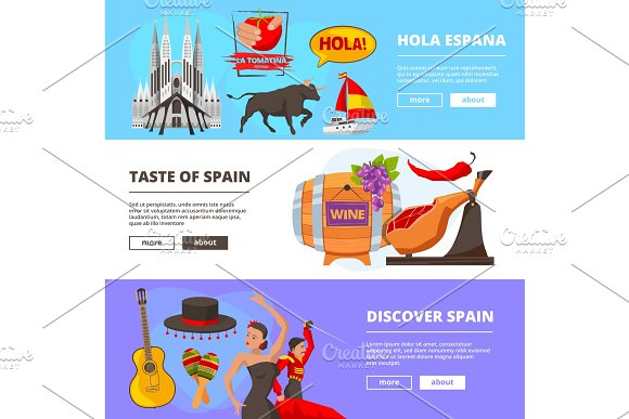 Horizontal Banners With Illustrations Of Cultural Objects Of Spain