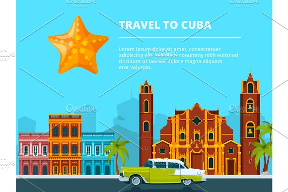 Urban Landscape Of Cuba Different Historical Symbols And Landmarks