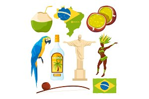 Brazilian landmarks and different cultural symbols