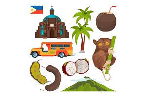 Vector set of colored symbols of philippines