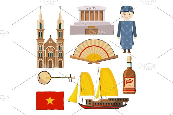 Different Pictures Of Vietnam Symbols Isolate On White Background