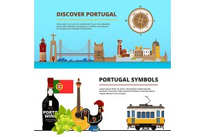 Banners set with illustrations of portuguese cultural objects