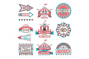 Labels in retro style. Logos for circus entertainment