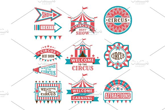 Labels In Retro Style Logos For Circus Entertainment
