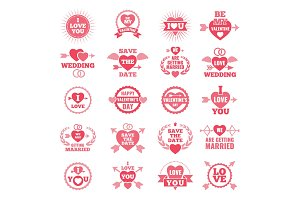 Love symbols for wedding day. Monochrome badges